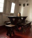 Vecchia tabella pranzante di legno Immagine Stock Libera da Diritti