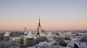 Vecchia Tallinn congelata Immagine Stock Libera da Diritti
