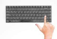 Vecchia tastiera con la mano Fotografia Stock Libera da Diritti