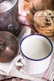 Vecchia tazza del metallo di latte Immagine Stock Libera da Diritti