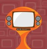 Vecchia televisione con retro fondo Fotografia Stock Libera da Diritti