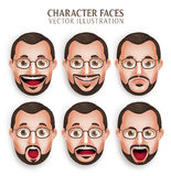 Vecchia testa dell'uomo della barba con espressione facciale differente Fotografia Stock Libera da Diritti