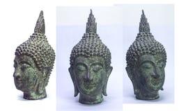 Vecchia testa di Buddha isolata su fondo bianco Fotografia Stock Libera da Diritti