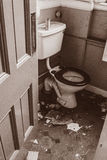 Vecchia toilette ababdoned Fotografie Stock Libere da Diritti