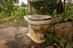 Vecchia toilette d'annata abbandonata su terra concreta bagnata - Coun verde fotografia stock