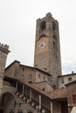 Vecchia torre Torre Civica della città a Bergamo, Citta Alta Fotografie Stock