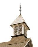 Vecchia torretta di segnalatore acustico di legno della chiesa isolata. Immagine Stock
