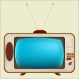Vecchia TV con lo schermo blu Immagine Stock