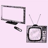 Vecchia TV e TV moderna Fotografia Stock