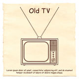 Vecchia TV su un fondo di carta Fotografie Stock