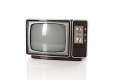 Vecchia TV sul bianco Fotografia Stock Libera da Diritti