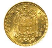 Vecchia una moneta dello Spagnolo della peseta Inverso Immagine Stock Libera da Diritti