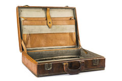 Vecchia valigia d'annata isolata su fondo bianco Fotografia Stock Libera da Diritti