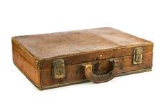 Vecchia valigia d'annata isolata su fondo bianco Immagine Stock