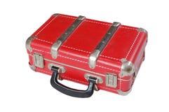 Vecchia valigia dell'annata di cuoio rossa Immagini Stock Libere da Diritti