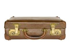 Vecchia valigia di cuoio isolata Fotografia Stock