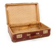 Vecchia valigia marrone per la corsa Fotografia Stock Libera da Diritti