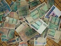 VECCHIA VALUTA DI KYAT DEL MYANMAR DELLA BIRMANIA Fotografia Stock