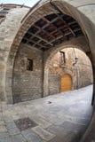 Vecchia via al quarto gotico di Barcellona Fotografie Stock Libere da Diritti