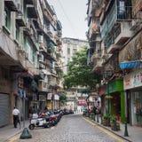 Vecchia via del centro a Macao Immagine Stock Libera da Diritti
