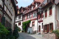 Vecchia via del quarto di Gerberbach in Weinheim, Germania Fotografia Stock