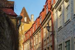 Vecchia via della città della città di Tallinn fotografia stock libera da diritti