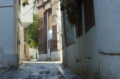 Vecchia via dello stretto della città di Jedda Fotografia Stock