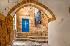 Vecchia via di Jaffa, Israele immagini stock libere da diritti