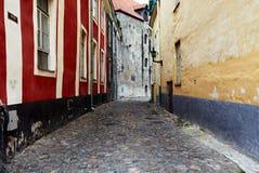 Vecchia via di Tallinn Estonia fotografie stock libere da diritti