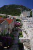 Vecchia via e pareti antiche Immagini Stock