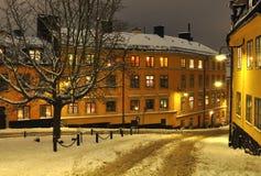 Vecchia via in inverno di Stoccolma Fotografia Stock