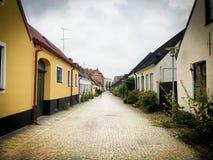 Vecchia via nella città di Lund in Svezia Fotografie Stock Libere da Diritti
