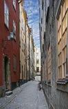 Vecchia via a Stoccolma Immagine Stock Libera da Diritti