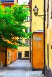 Vecchia via a Stoccolma Fotografia Stock Libera da Diritti