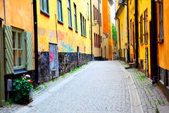 Vecchia via a Stoccolma Fotografie Stock Libere da Diritti
