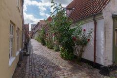 Vecchia via stretta in Ribe, Danimarca fotografie stock libere da diritti