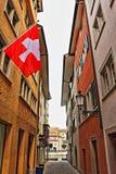 Vecchia via Svizzera della città di Zurigo Fotografie Stock Libere da Diritti