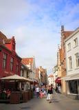 Vecchia vista Bruges Belgio della via della città Fotografie Stock