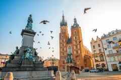 Vecchia vista del centro urbano a Cracovia Fotografia Stock