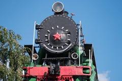 Vecchia vista del frontale della locomotiva a vapore Fotografia Stock