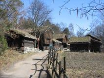 Vecchia vista del villaggio - Norvegia fotografia stock