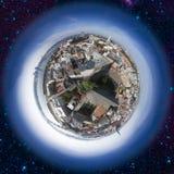 Vecchia vista dell'orizzonte della città di Riga da sopra Fotografia Stock Libera da Diritti