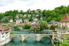 Vecchia vista della città della città di Berna Fotografie Stock Libere da Diritti