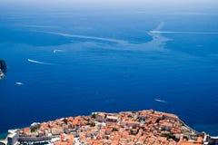 Vecchia vista della città di Dubrovnik Immagine Stock