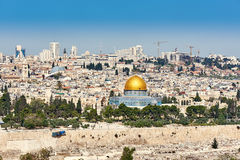 Vecchia vista della città di Gerusalemme Fotografia Stock
