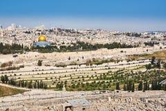 Vecchia vista della città di Gerusalemme Immagini Stock Libere da Diritti