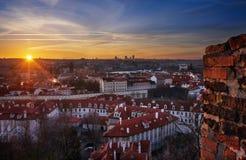 Vecchia vista della città e ponte di Charles, Praga, repubblica Ceca Fotografia Stock