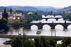 Vecchia vista di Praga, ponti Fotografia Stock Libera da Diritti