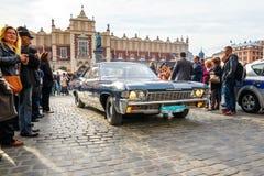 Vecchie automobili classiche sul raduno delle automobili d'annata a Cracovia, Polonia Immagine Stock Libera da Diritti