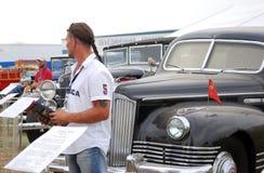 Vecchie automobili d'annata indicate alla mostra Fotografie Stock Libere da Diritti